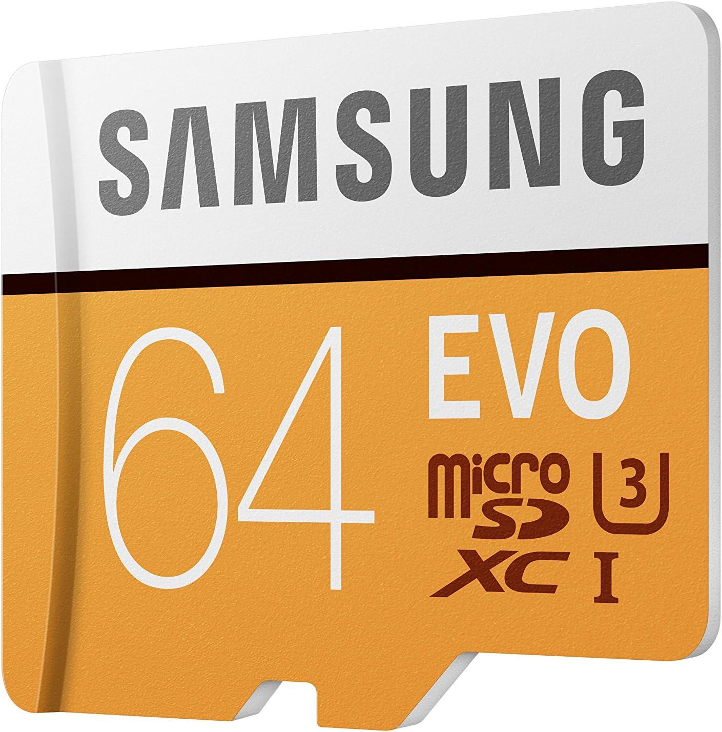 Amazon Com Samsung 100mb S U3 Microsd Evo Memory Card With Adapter 64 Gb Mb Mp64ga Am Electronics