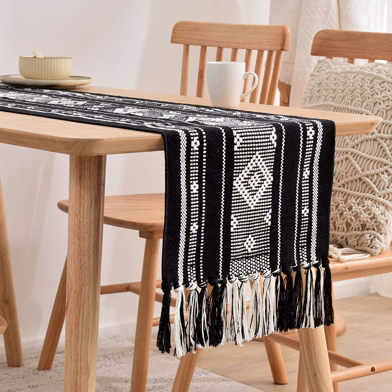 Monibana Boho Geometric Handmade Woven Tassels Cotton Table Runner Bohemian Moroccan Farmhouse Dresser Scarf for Bedroom Coffee Dining Table Decor Black and White 86 Inch