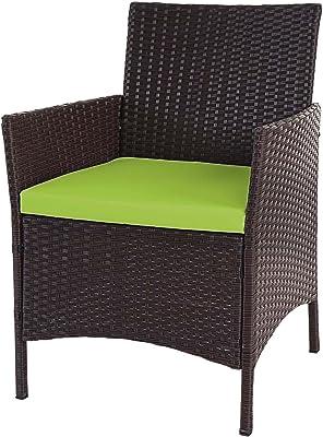 Poly-Rattan Gartensessel braun inkl Kissen Gartenstuhl Balkon Terrasse Lounge