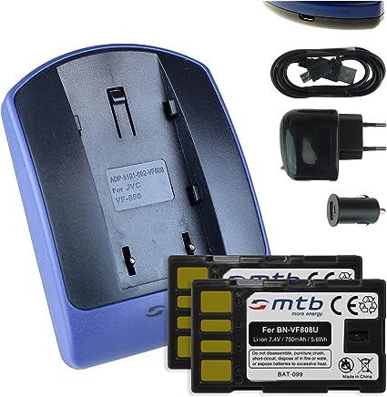 2 Baterìas + Cargador (USB/Coche/Corriente) para JVC BN-VF808 / GR-D... / GZ-HD..., MG..., MS... - ver lista