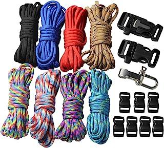 comprar comparacion Kit con hebillas de pulseras trenzados de paracaídas, cuerda al aire libre cuerda de supervivencia manual 18 pcs UOOOM
