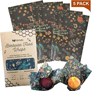 5 Pack of Premium Beeswax Food Wraps - Reusable up to 150 times - 2 Small, 2 Medium, Large Size Set (Leaf Print)