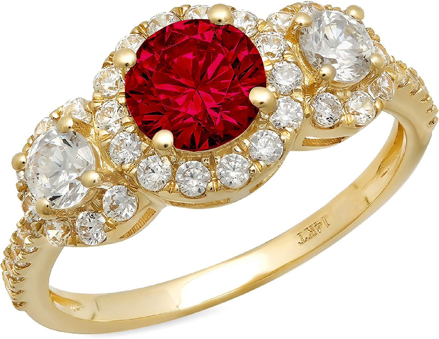 1.69ct Round Cut Halo Solitaire 3 stone With Accent Natural Crimson Deep Red Garnet Gemstone Ideal VVS1 Engagement Promise Statement Anniversary Bridal Wedding ring Solid 14k Yellow Gold