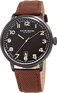 Akribos XXIV Men's Canvas Classic Watch - Clear Arabic Numeral Markers On a Comfortable Covered Genuine Leather Strap - AK1025
