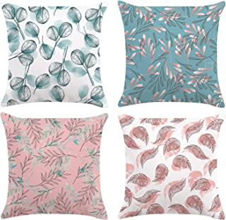 Bonhause Teal and Pink Leaves Throw Pillow Covers 18 x 18 Inch Set of 4 Decorative Throw Pillow Cases Super Soft Velvet Square Cushion Covers for Sofa Couch Car Bedroom Home Décor