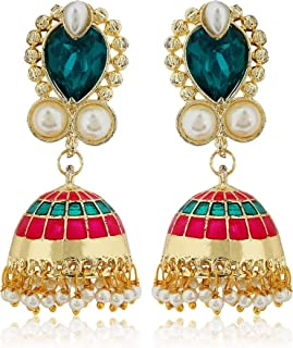 Moonstruck Traditional Indian Golden Minakari Jhumka Earrings With Stones And Pearls for Women