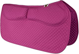 ECP Western Saddle Pad All Purpose Diamond Quilted Cotton Therapeutic Contoured Correction Support Memory Foam Pockets for Riding