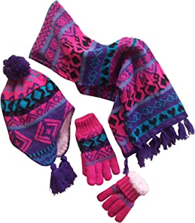 Big Girls Sherpa Lined Printed Hat/Scarf/Glove Knitted Accessory Set