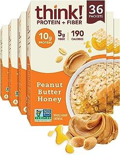 think! (thinkThin) Instant Oatmeal Packets - Protein & Fiber - Steel Cut Oats, 5g Fiber, Non GMO, 10g Protein, Peanut Butt...