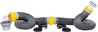 Camco 39658 Deluxe 20' Swivel Ready to Use Kit Complete with Sewer Elbow Fitting, Hoses, Storage Caps and Bonus Clear Extender