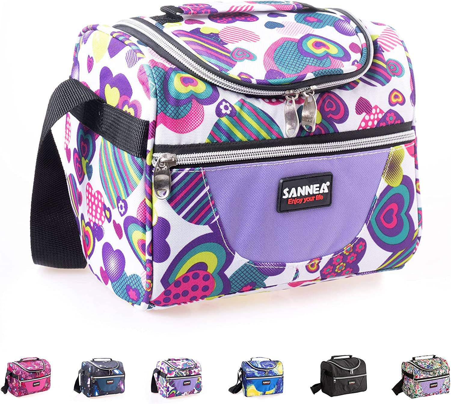 Pretty Jolly Insulated Lunch Box for Kids Adjustable Strap Lunch Bag for Boys Girls Reusable Lunch Organizer Bento Bags Cooler Tote for Office Work School Picnic Beach/Children Student (Loving Heart)
