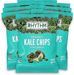 Sponsored Ad - Rhythm Superfoods Kale Chips, Kool Ranch, Organic and Non-GMO, 0.75 Oz (Pack of 8) Single Serves, Vegan/Glu...