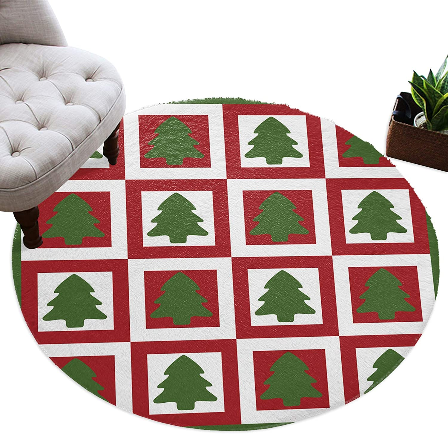 Round Area Bargain sale Rugs for Kids Room Tree Christmas Green Red Lodge Ca Max 41% OFF