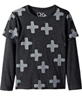 Extra Soft Plus Sign Print Faux Twofer Long Sleeve Tee (Little Kids/Big Kids)