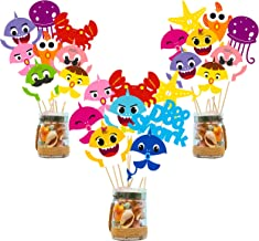 Ticiaga Cute Shark Party Favors, 42pcs Doo Doo Shark Party Centerpiece Sticks Table Topper for Birthday Party Decoration, Double Sided Little Shark Cake Topper, Photo Booth Props, Shark Party Supplies