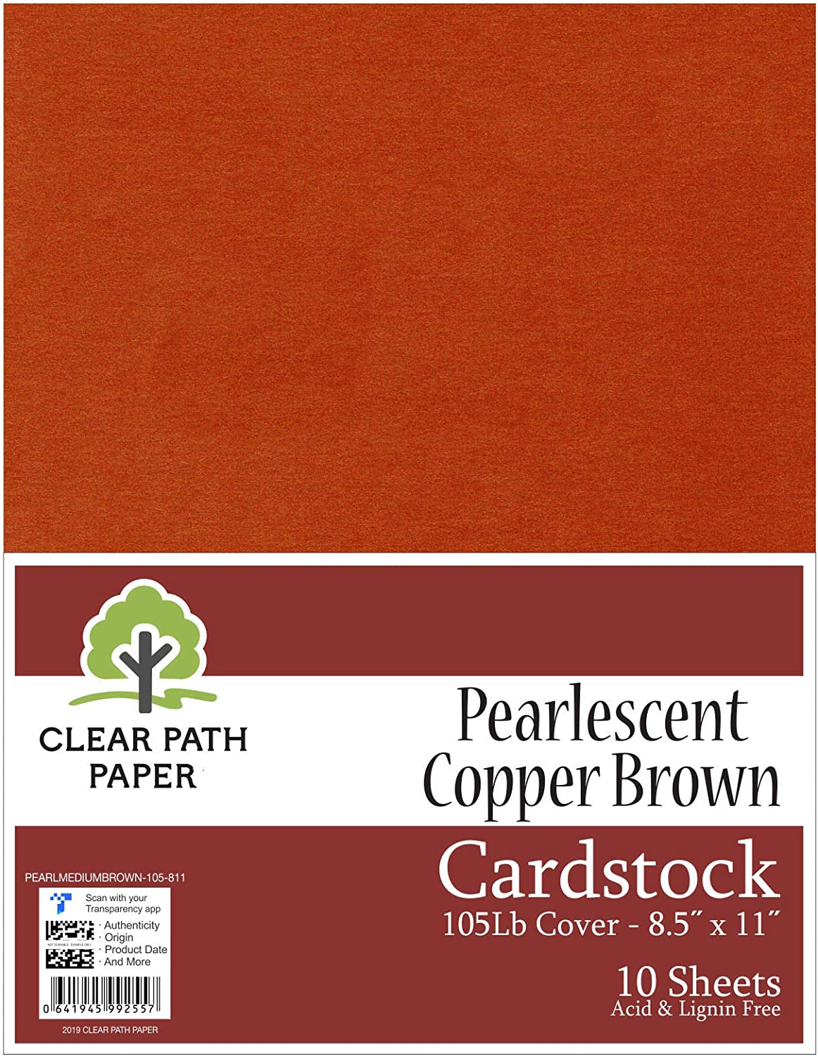 Clear Path Paper Pearl Shimmer Metallic Brick Red Cardstock 105Lb Cover 8.5 x 11 inch 10 Sheets