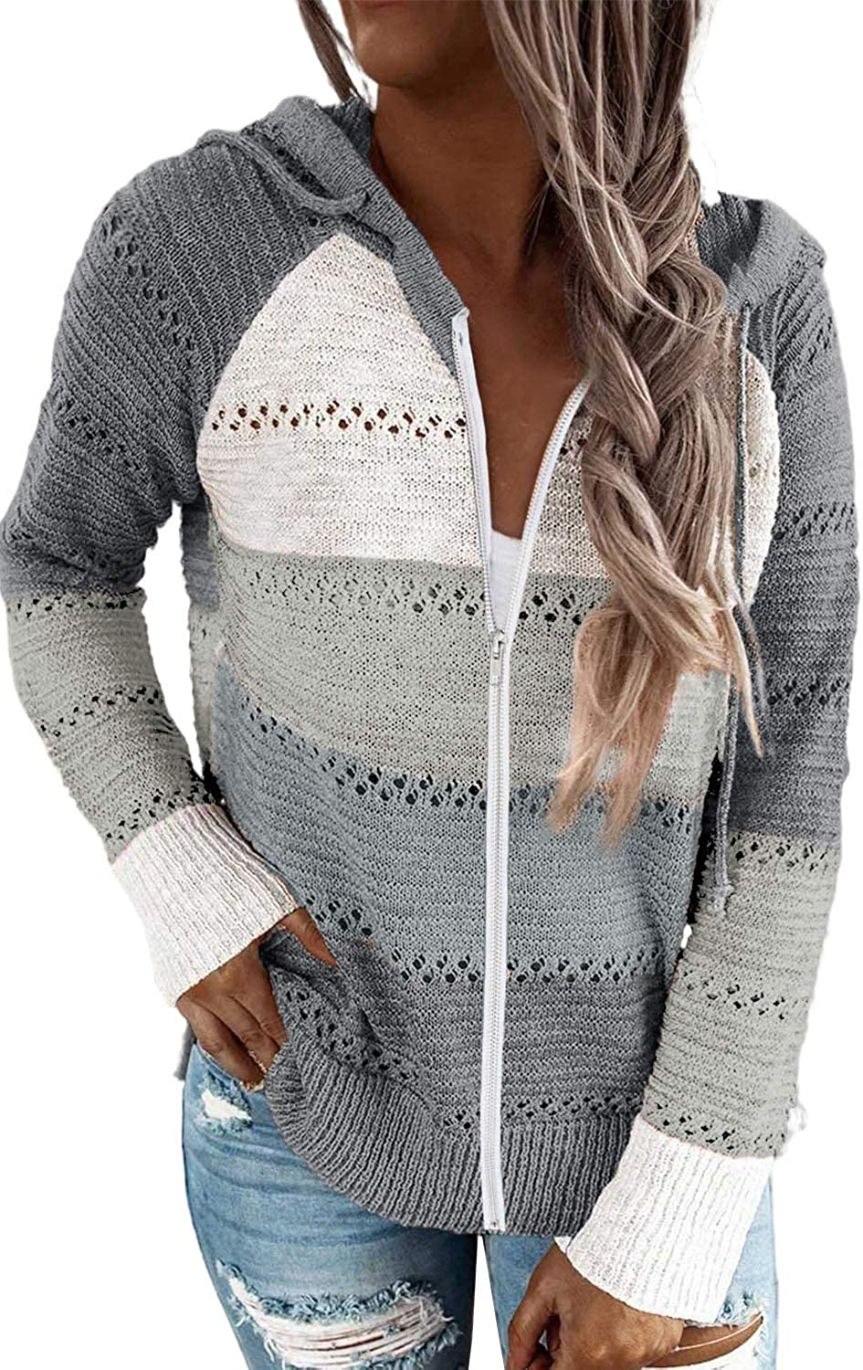 Acelitt Our shop OFFers the Manufacturer regenerated product best service Women Casual Long Sleeve Hoodie Up Sweatshirt Hooded Zip