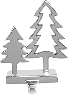 BIRDROCK HOME Double Pine Tree Stocking Holder for Mantle - Holiday Mantle Fireplace Topper - Decorative Christmas Tree Stocking Holder - Family Décor Stand Hanger - Stainless Steel