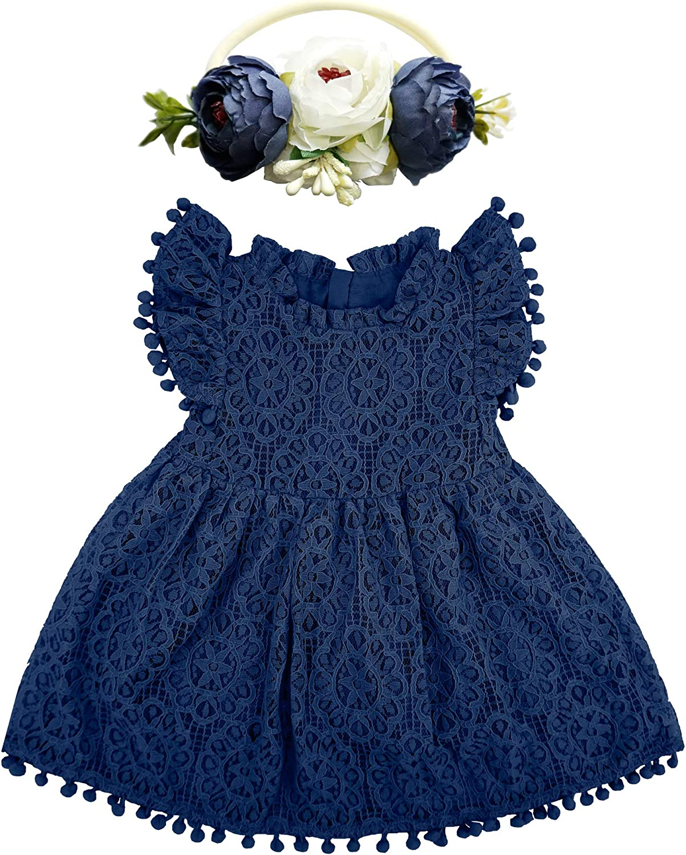 BGFKS Baby Girl Tutu Dress Elegant Lace Pom Pom Flutter Sleeve with Flower Headband Set