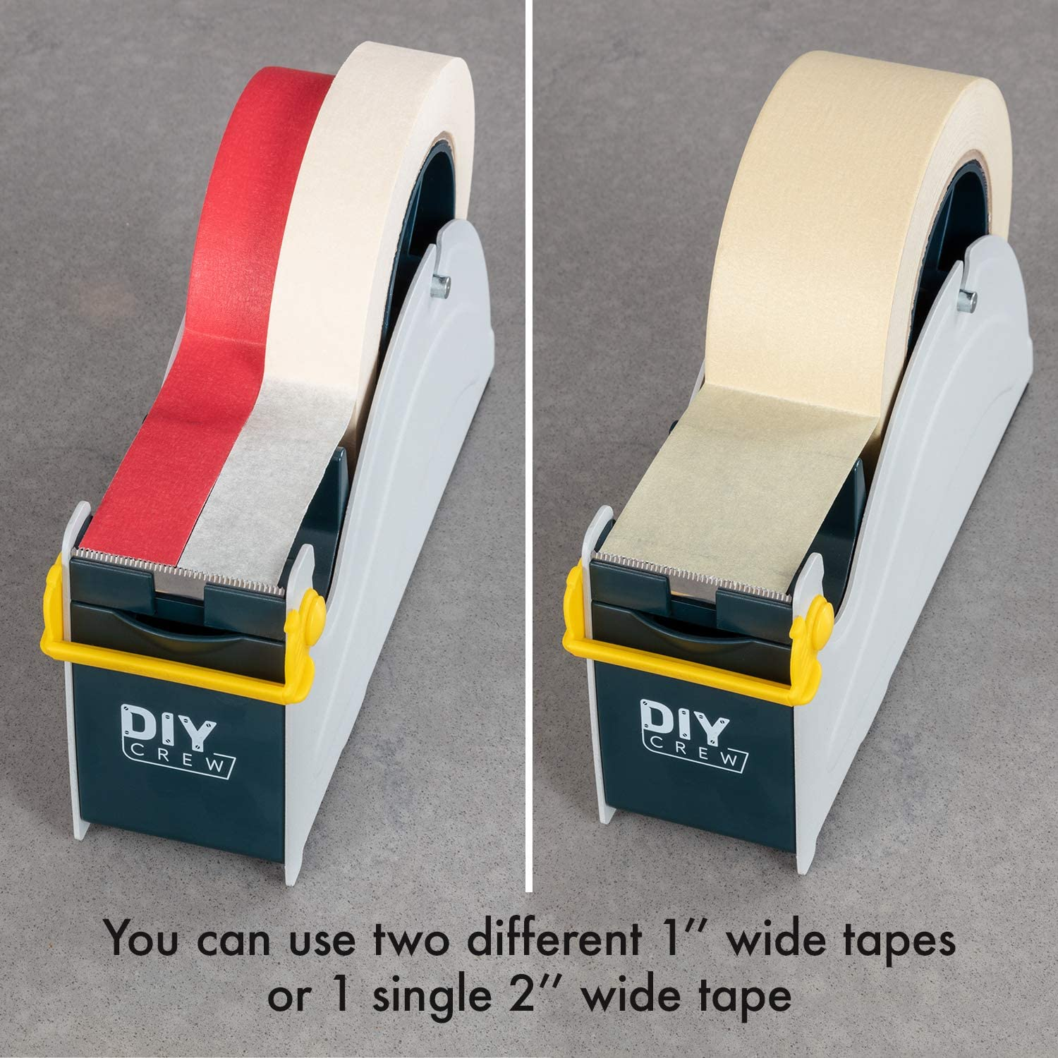 Weighted Tape Dispenser Tape Holder for Two 1 Inch Wide Tapes Or One 2 Inch Easy One Hand Operation Double Tape Dispenser