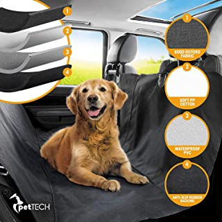 PetTech Luxury Car Seat Cover/Hammock for Rear Bench (for Large and Small Dogs), Simple Installation and Easy to Clean, Protect Your Car, 100% Waterproof, Anti-Slip Design, Travel Worry-Free