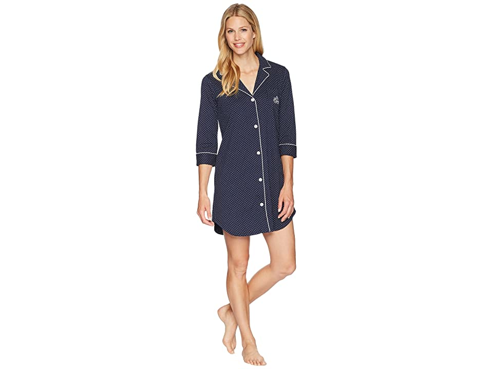LAUREN Ralph Lauren Essentials Bingham Knits Sleep Shirt (Navy Polka Dot) Women