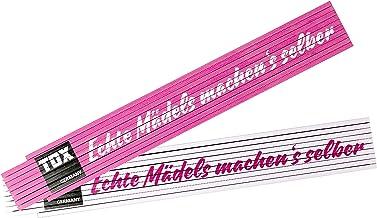 TOX 09969002 Meterstaaf 2 mtr. roze/wit, met opdruk echte meiden maken zelf de schakelschaal voor echte powervrouwen, 1 st...