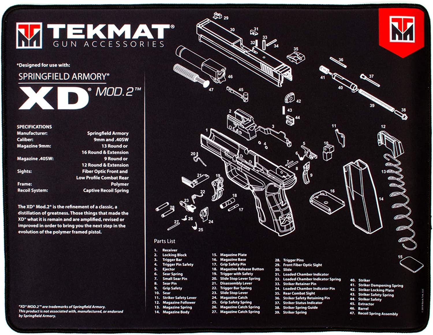 TekMat Springfield Armory XD Mod2 Ultra Premium Gun Cleaning Mat   15  x 20    .25  Thick, Durable, Water and Oil Resistant   Handgun Cleaning and Bench Mat   Extra Thick Padding   Sewn Edges