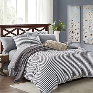 PURE ERA Striped Duvet Cover Set Jersey Knit Cotton Soft Comfy 3 Pieces Home Bedding Sets Reversible 1 Duvet Cover with 2 Pillow Shams Grey Queen