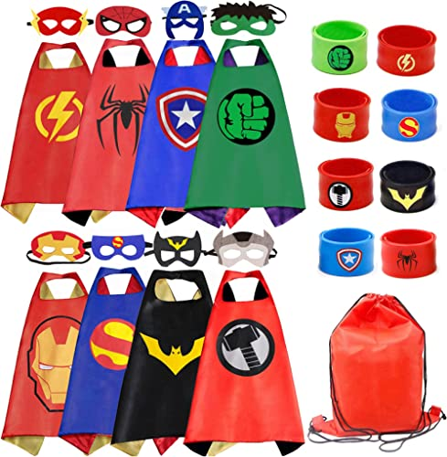 RioRand Kids Dress Up 8PCS Superhero Capes Set and Slap Bracelets for Boys Costumes Birthday Party Gifts