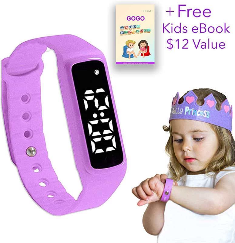 GOGO Potty Training Watch Water Resistant Timer And Child Reminder Toilet Trainer Alarm Watches For Boys Girls Kids And Toddlers With A Soft Pink Purple Strap And Adjustable Alerts