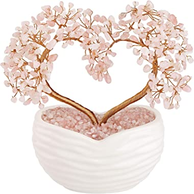Jovivi Rose Quartz Crystal Heart Money Tree Healing Gemstone Bonsai Ornament for Wedding Ceremony Reiki Balancing Energy Medi