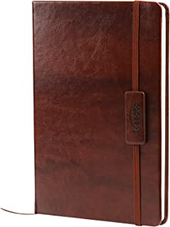 Kesoto A5 Classic Ruled Leather Hardcover Writing Notebook Journal Diary with Elastic Closure and Expandable Paper Pocket (200 Pages)