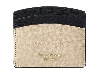 Kate Spade New York Spencer Card Holder (Warm Beige/Black) Wallet