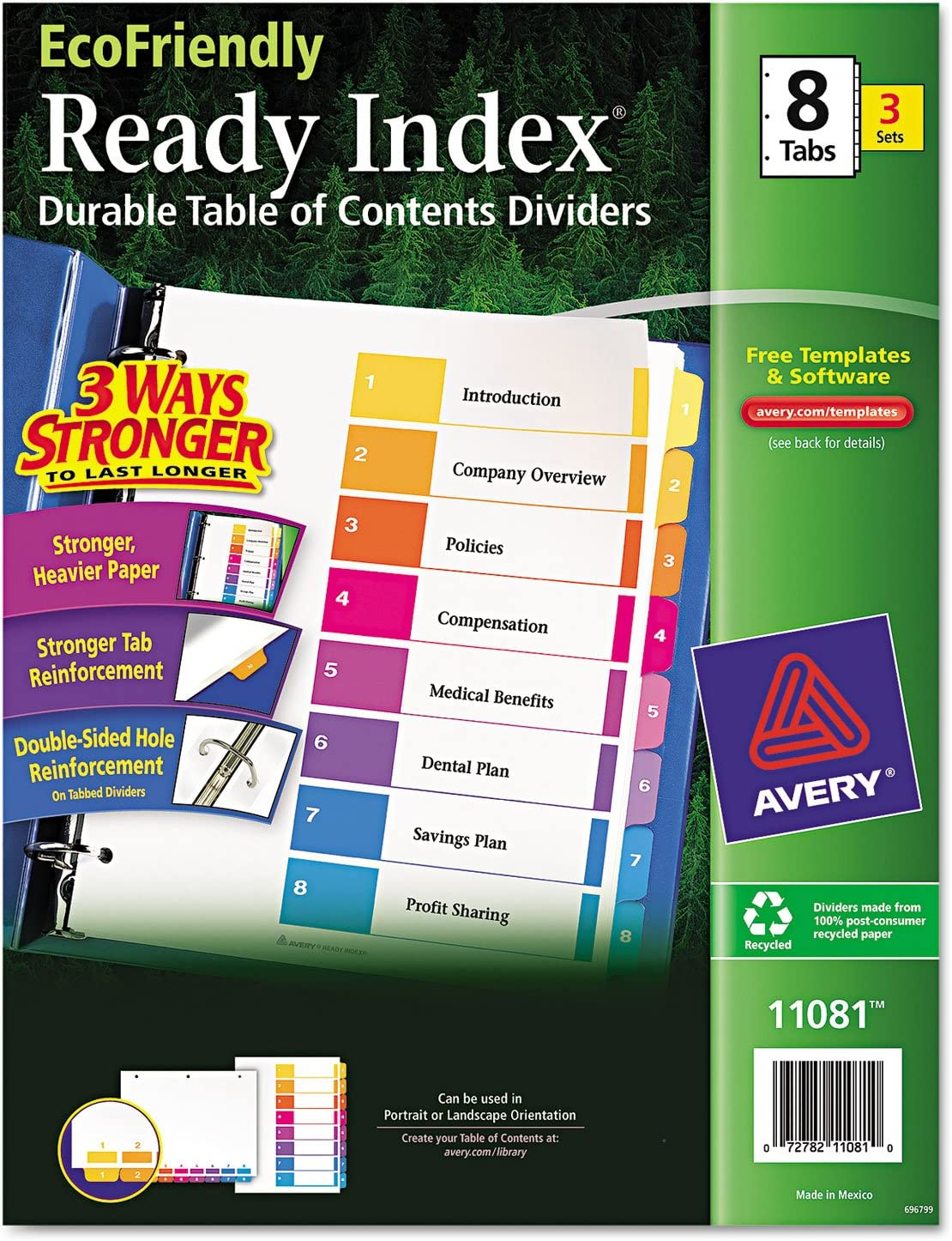 Avery Ready Index Customizable Table Contents Genuine Free shipping Free Shipping of Asst Dividers