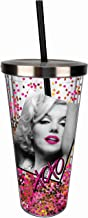 Spoontiques 21336 Marilyn Monroe Glitter Cup w/Straw, One Size, Pink & Gold