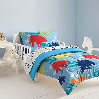dream FACTORY Dinosaur Comforter Set, Toddler, Blue/Green/Multicolor/Orange/Red/White