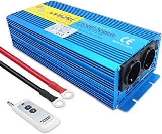 Cantonape 1500W/3000W Reiner Sinus Spannungswandler Wechselrichter 12V auf 230V Umwandler Inverter Konverter mit 2 EU Steckdose und Kabellose Fernbedienung und LED Anzeige