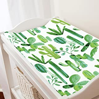 Carousel Designs Green Painted Cactus Changing Pad Cover - Organic 100% Cotton Change Pad Cover - Made in The USA