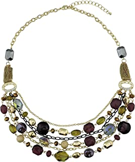 Newest Multi Layer Chain Crystal Colored Glaze Statement Women Strand Necklace