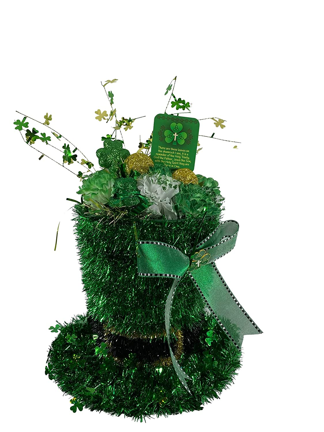 AGD St Patrick's Decor It is very popular - Large Green Lighted Credence Tophat Cente Tinsel