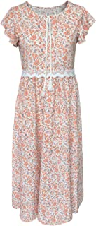 Laby Lady's Short Sleeved Flowered Round Neck Long Dress with Fringed lace