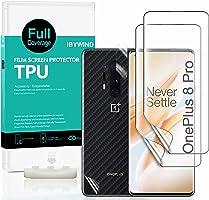 Ibywind Skärmskydd för OnePlus 8 Pro, [Förpackning med 2], [Kameralinsskydd] [Bakre kolfiberfilmskydd]...