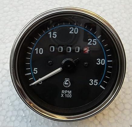 Hitommy Marine Tachometer Gauge LED Hour Meter Boat RPM 12V//24V 8000RPM Stainless Steel