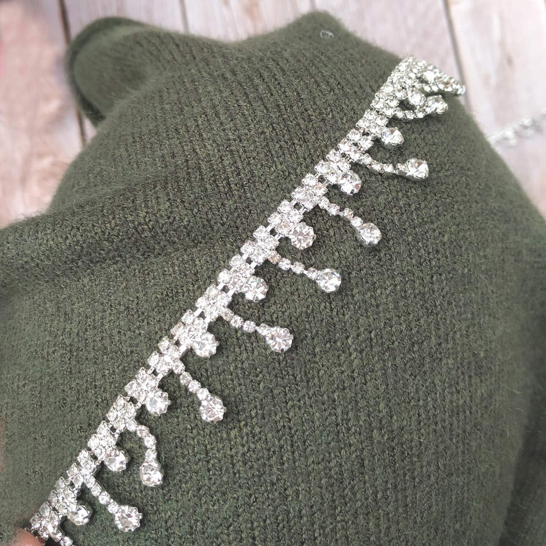 1 New color favorite Yard Craft Material Crystal cutta Fringe Chain Trim Rhinestone