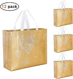 Gesodant Glossy Bling Reusable Grocery Bag Tote Bag With Handle,Non-woven Fashionable Present Bag Gift Bag,Goodies Bag Shopping Bag,Promotional Bag,Totes,Bulk Bags Set Of 12 - Gold