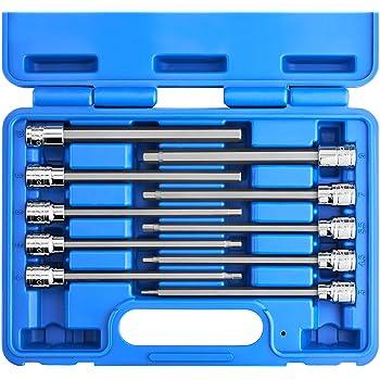 CLEARANCE I8778 9PC Extra Long Métrique Clé Hexagonale Set 1.5-10MM Chrome Vanadium Acier