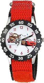 Disney Boys' Cars Stainless Steel Analog-Quartz Watch with Nylon Strap, red, 16 (Model: WDS000027)