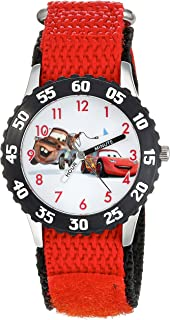 Disney Boys' Cars Stainless Steel Analog-Quartz Watch with Nylon Strap, red, 16 (Model: WDS000027)