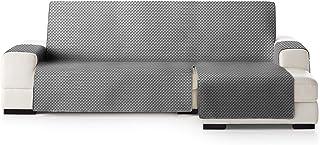 JM Textil Funda Cubre Sofá Chaise Longue Elena, Protector para Sofás Acolchado Brazo Derecho. Tamaño -290cm. Color Gris 06 (Visto DE Frente)